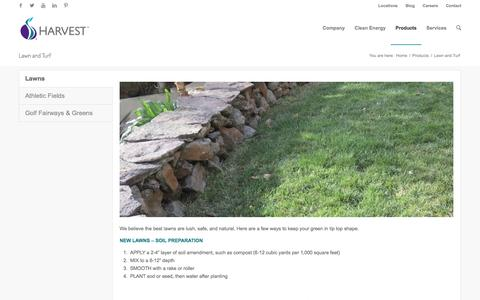 Screenshot of harvestpower.com - Lawn and Turf | Harvest - captured March 28, 2016