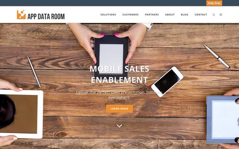 Screenshot of Home Page appdataroom.com - App Data Room - Mobile Sales Enablement - captured Feb. 12, 2016