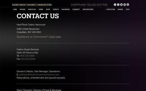 Screenshot of Contact Page hardrockcasinovancouver.com - Contact Information | Hard Rock Casino Vancouver : Hard Rock Casino Vancouver - captured Sept. 22, 2014