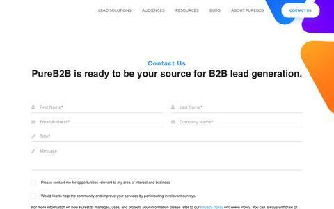 Screenshot of Contact Page pureb2b.com - Contact Us | PureB2B - captured Aug. 4, 2019