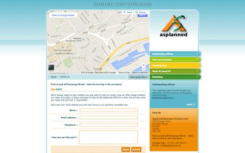 Screenshot of Contact Page Maps & Directions Page asplanned.co.uk - asplanned - Office Interiors & Relocations - captured Oct. 25, 2014