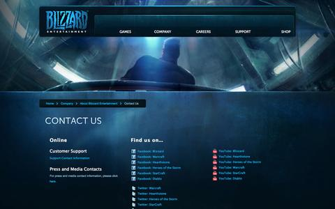 Screenshot of Contact Page blizzard.com - Blizzard Entertainment:Contact Us - captured Sept. 18, 2014
