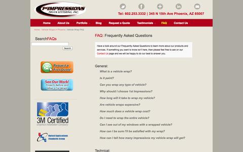 Screenshot of FAQ Page 1stimpressions.com - Vehicle Wrap FAQs |1st Impressions Truck Lettering Vehicle Wraps - captured Oct. 7, 2014
