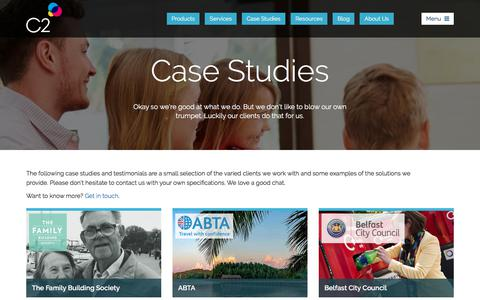 Screenshot of Case Studies Page c2software.com - Business Transformation Case Studies from C2 - captured July 14, 2018