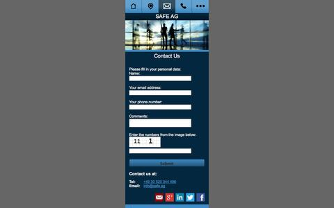 Screenshot of Contact Page safe.ag - Service Alliance for Europe - (Contact Us) - captured Oct. 3, 2014