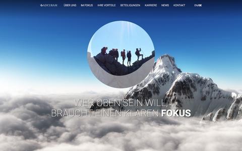 Screenshot of Home Page adcuram.com - ADCURAM · Operativ, Nachhaltig, Kapitalstark - captured Feb. 5, 2016