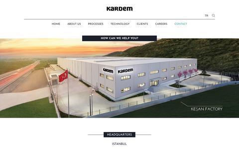 Screenshot of Contact Page kardem.com - İLETİŞİM: HQ'de bizimle buluşup ya da fabrikalarımızı ziyaret edebilirsiniz. - captured Sept. 20, 2018