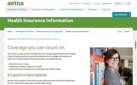 Health Insurance Information | Aetna