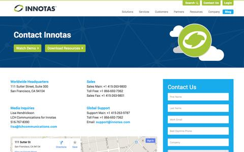 Screenshot of Contact Page innotas.com - Contact Us | Innotas - captured Oct. 28, 2014