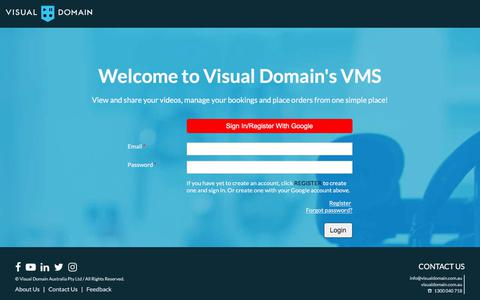 Screenshot of Login Page visualdomain.com.au - Login - captured July 2, 2019