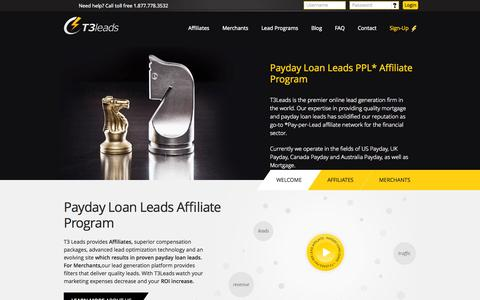 Screenshot of Terms Page t3leads.com - Payday Loan Leads PPL Affiliate Program - captured Sept. 18, 2014