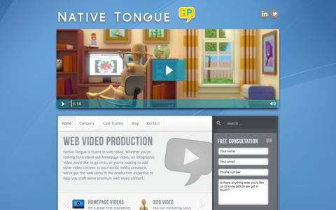Screenshot of Home Page nativetongue.net - Web Video Production Specialists - Native Tongue - captured Oct. 10, 2014