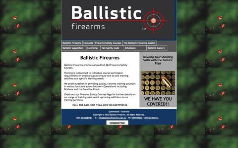 Screenshot of Home Page ballisticfirearms.com.au - Ballistic Firearms - captured Sept. 30, 2014