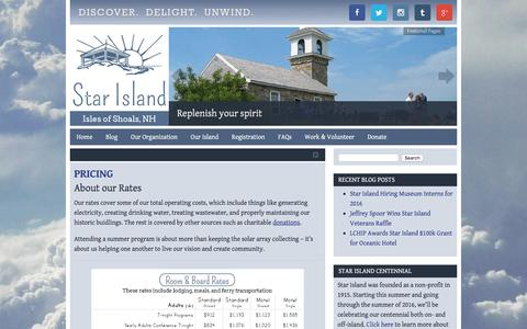 Screenshot of Pricing Page starisland.org - Pricing | Star Island Family Retreat and Conference Center - captured Feb. 25, 2016