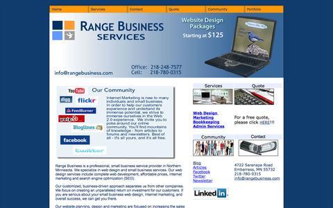 Screenshot of Home Page rangebusiness.com - Range Business:  Home - captured Oct. 6, 2014