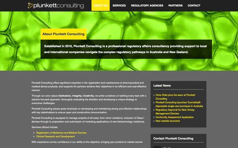 Screenshot of About Page plunkettconsulting.com.au - About Plunkett Consulting - captured Sept. 30, 2014