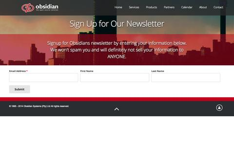 Screenshot of Signup Page obsidian.co.za - Sign Up for Our Newsletter   Obsidian Systems - captured Nov. 3, 2014