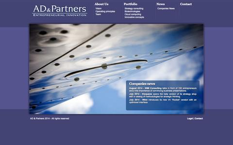 Screenshot of Home Page ad-partners.fr - AD & Partners - Entrepreneurial Innovation - captured Oct. 4, 2014