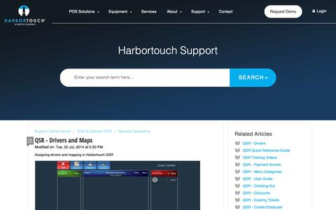Screenshot of Support Page harbortouch.com - QSR - Drivers and Maps : Harbortouch Support Center - captured Oct. 9, 2018