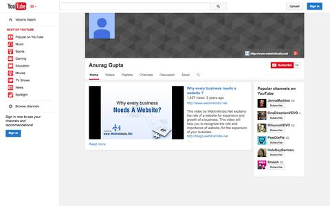 Screenshot of YouTube Page youtube.com - Anurag Gupta  - YouTube - captured Oct. 26, 2014