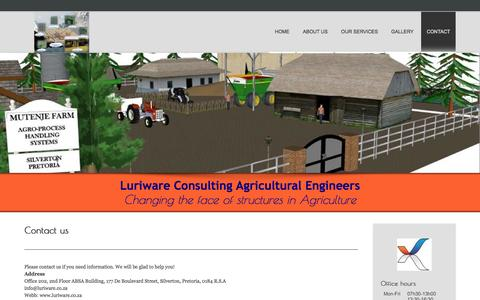 Screenshot of Contact Page luriware.co.za - Luriware | Contact - captured Nov. 2, 2014