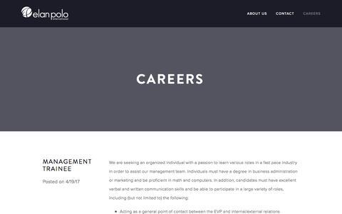 Screenshot of Jobs Page elanpolo.com - Careers — Elan Polo - captured May 16, 2017