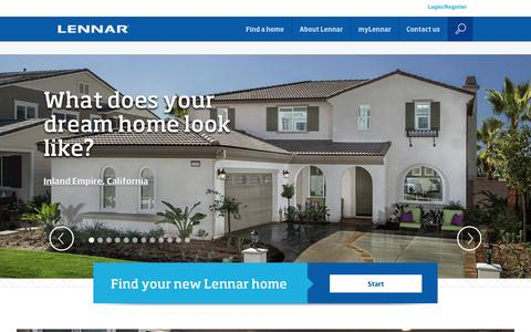 Screenshot of Home Page lennar.com - Lennar New Homes For Sale - Building Houses and Communities - captured Dec. 5, 2015