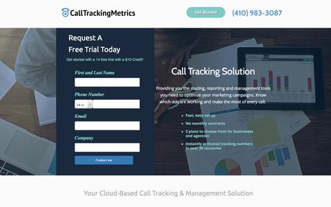 Screenshot of Landing Page calltrackingmetrics.com - CallTrackingMetrics - Helping our Clients make the most of every call. - captured Sept. 24, 2016
