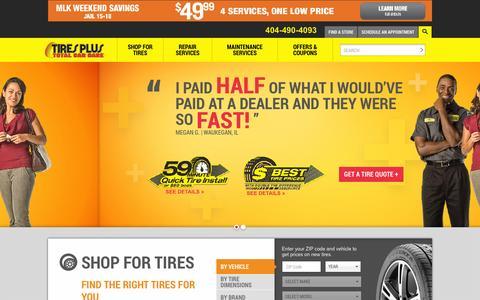 Screenshot of Home Page tiresplus.com - Tires, Auto Repair & Maintenance | Tires Plus - captured Jan. 18, 2016