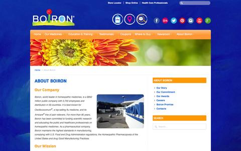 Screenshot of About Page boironusa.com - BOIRON USA  |  About Boiron - captured July 5, 2016