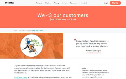 Screenshot of Trial Page myemma.com - Emma Customers: Baby Boot Camp | Emma Email Marketing - captured Nov. 27, 2019