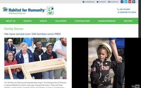 Screenshot of Testimonials Page brevardhabitat.com - Family Stories - - captured Oct. 17, 2016