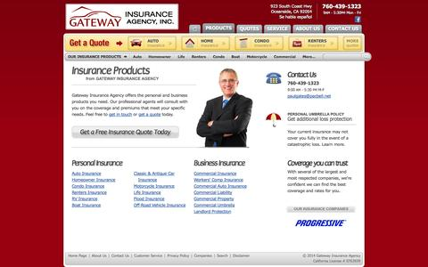 Screenshot of Products Page gatewayinsuranceonline.com - Oceanside Insurance Products from Gateway Insurance Agency Oceanside, California - captured Oct. 2, 2014