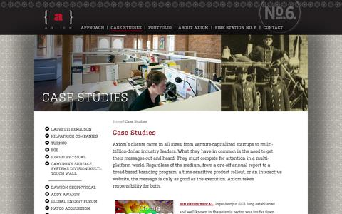 Screenshot of Case Studies Page axiom.us.com - Axiom - Case Studies - Houston, TX Marketing and Design for Startups to Industry Leaders - captured Oct. 29, 2014