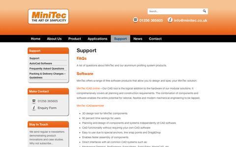 Screenshot of Support Page minitec.co.uk - Support - MiniTec UK - Aluminium Profiles - captured Oct. 7, 2014