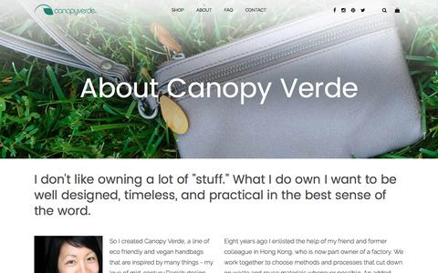 Screenshot of About Page canopyverde.com - About | Eco friendly handbags by Canopy Verde - captured May 14, 2017