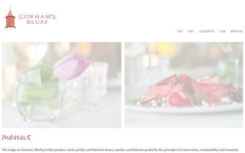 Screenshot of Menu Page gorhamsbluff.com - menus » Gorham's Bluff, AL - captured Oct. 2, 2014