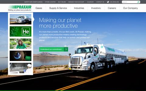 Screenshot of Home Page praxair.com - Industrial Gases, Supply, Equipment & Services | Praxair, Inc. - captured Dec. 28, 2015