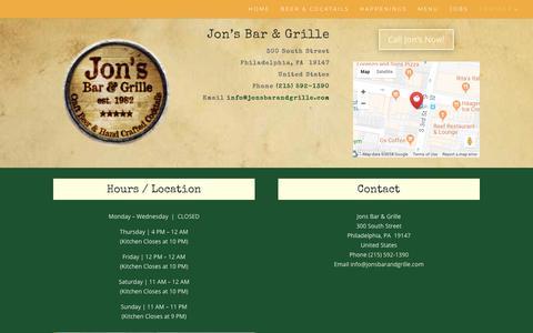 Screenshot of Contact Page jonsbarandgrille.com - Contact Jon's Bar and Grille | Jon's Bar & Grille - captured Oct. 14, 2018