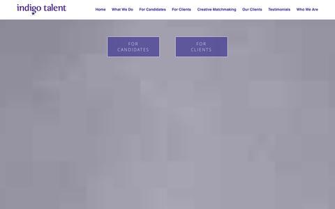 Screenshot of Home Page Testimonials Page indigo-talent.com - Indigo Talent | Recruitment Services - captured Sept. 30, 2014