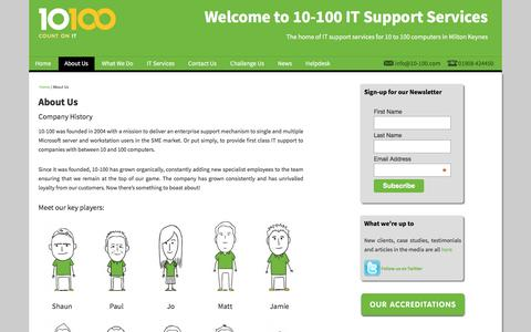 Screenshot of About Page 10-100.com - About Us - 10-100 IT Support Services - captured Feb. 13, 2016