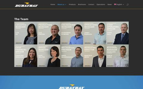 Screenshot of Team Page duratray.com - The Team | Duratray - captured Oct. 9, 2018