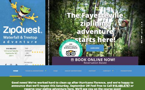 Screenshot of Home Page zipquest.com - Zipquest - Zipline | Things to Do | Attractions | Fayetteville | Raleigh | Wilmington - captured Oct. 18, 2018