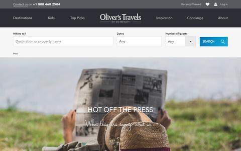 Screenshot of Press Page oliverstravels.com - Press   Oliver's Travels - captured Sept. 20, 2018