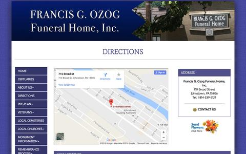 Screenshot of Maps & Directions Page ozogfh.com - Francis G. Ozog Funeral Home, Inc. | Johnstown PA funeral home and cremation - captured Dec. 2, 2016