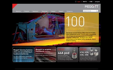 Screenshot of Home Page endevco.com - Endevco Meggitt Sensing Systems | vibration | shock | pressure measurements | accelerometers - captured Oct. 10, 2014