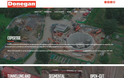 Screenshot of Services Page donegan.co.uk - Tunnelling and Engineering Contract Services - Donegan Civil Engineering - captured Oct. 19, 2018