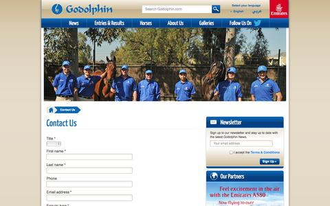 Screenshot of Contact Page godolphin.com - Godolphin - Contact Us - captured Sept. 19, 2014