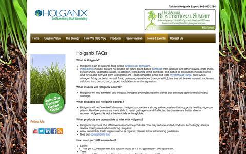 Screenshot of FAQ Page holganix.com - Holganix - FAQs - captured Sept. 16, 2014