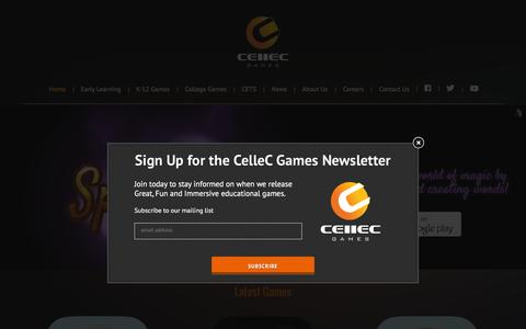 Screenshot of Home Page cellecgames.com - CelleC Games » Learn as you play! - captured Dec. 5, 2015